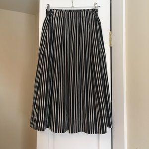 J. Crew Black and White Striped Pocketed Skirt